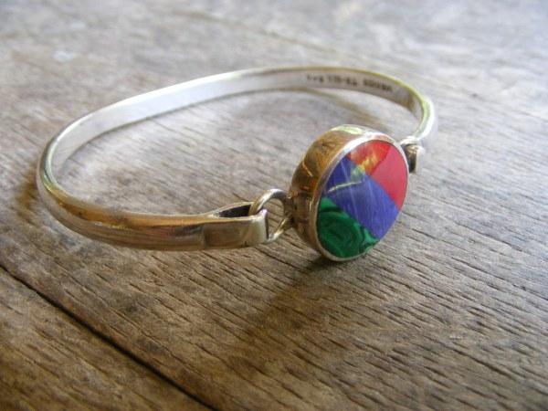 Multi-stone Bangle Bracelet – Vintage Mexican