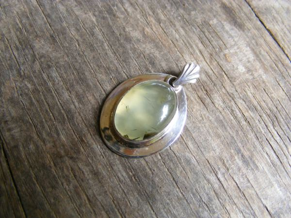 Oval Prehnite with Rim Pendant