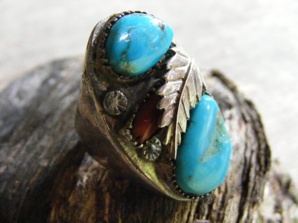 Navajo Turquoise and Red Coral Ring