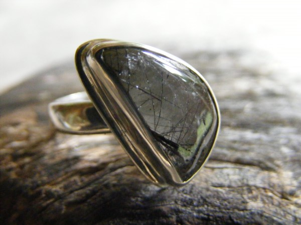 Tourmalinated Quartz Free-Form Ring