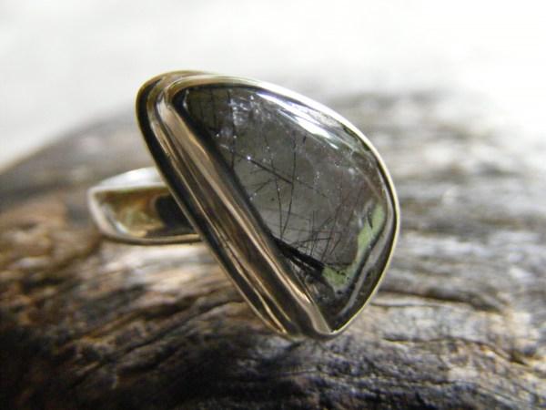 Tourmalinated Quartz Free-Form Ring