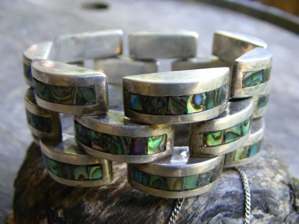 Abalone Bar Link Bracelet – Vintage Mexican