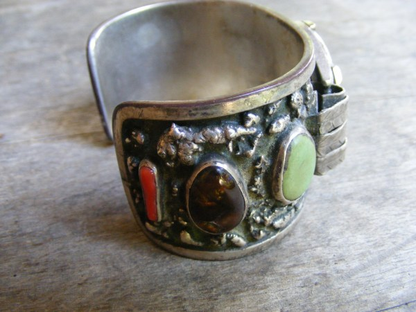 Navajo Watch Band with Mexican Fire Agates