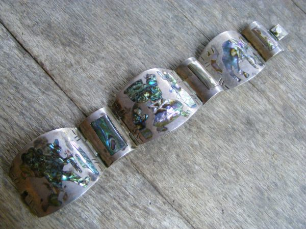Three Scene Abalone Panel Bracelet – Vintage Mexican