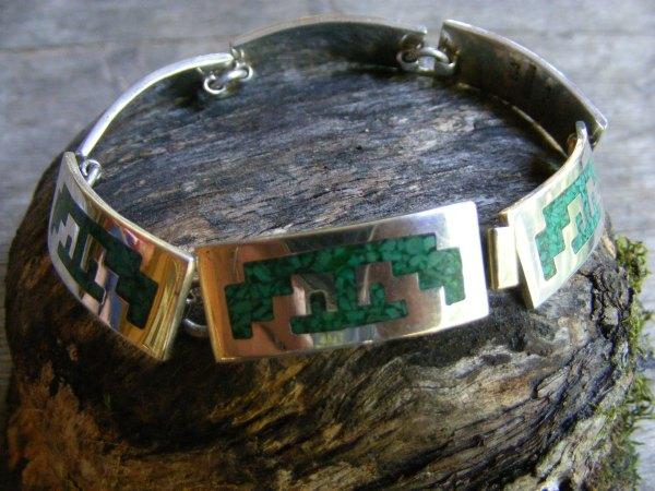 Link Bracelet with Aztec Design – Vintage Mexican