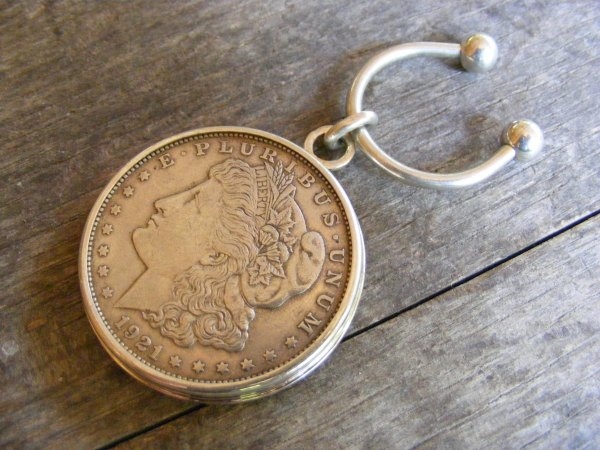 Silver Dollar Horseshoe Key Ring