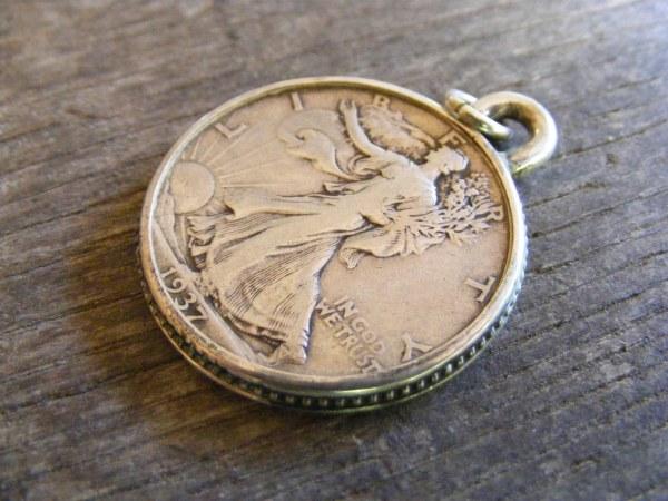 Fine Bead Walking Liberty Pendant