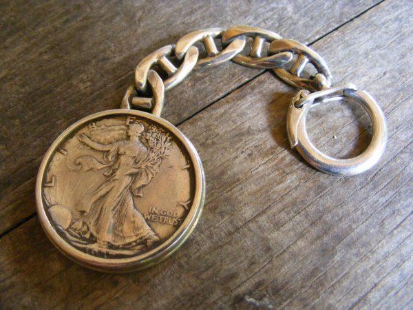 Rimmed Walking Liberty Key Ring
