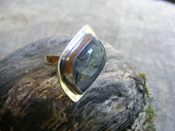 Free-Form Tourmalinated Quartz Ring with Rim