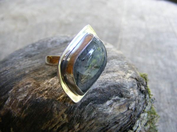 Free-Form Tourmalinated Quartz Ring with Rim
