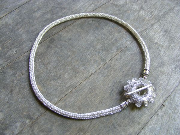 Viking Knit Necklace with Flower
