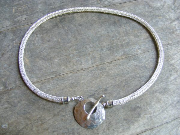 Viking Knit Necklace with Hammered Disk