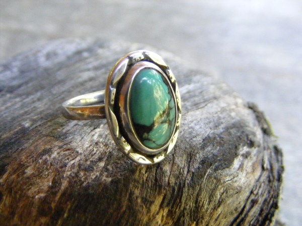Turquoise Ring with Marquise Rim