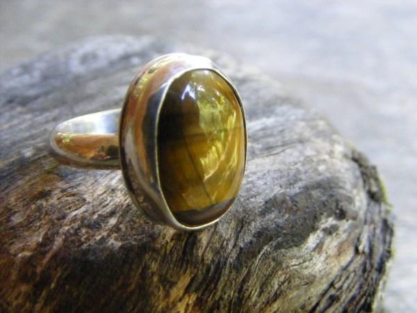 Tiger Eye Ring with Rim