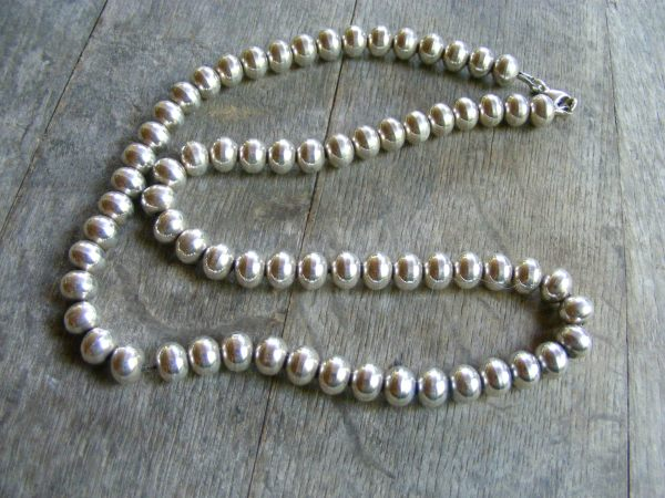 Rondelle Bead Sterling Silver Necklace
