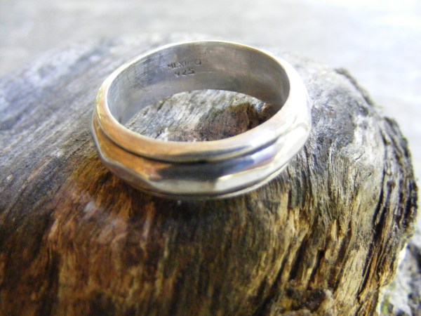 Spinner Ring – Hammered – Vintage Mexican