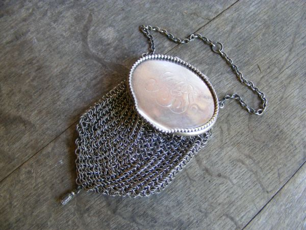 Beaded Top Chatelaine Mesh Purse