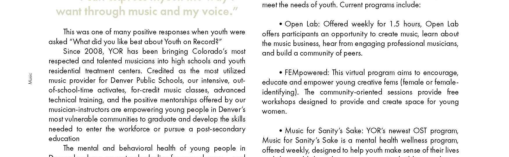 Programs for youth..everywhere