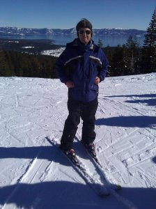 Here I am skiing at the top of the Lakeview Chair at Alpine Meadows. That's Lake Tahoe in the background.