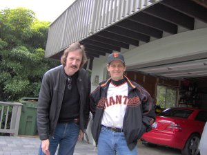 This photo was taken at my house on our way to a Giants game... I think. At least, I know I was.