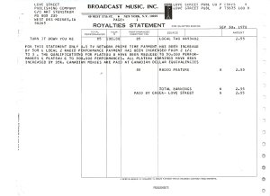The BMI Royalties Statement for the third quarter of 1978.