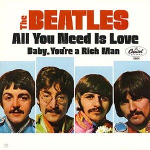 """""""All You Need Is Love"""" 45 cover."""