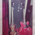 Peavey Bass amp and Hofner bass and Gibson guitar