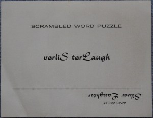 Scrambled word sticker