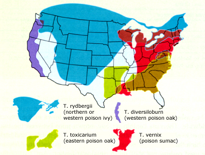range of poison oak, poison ivy, and poison sumac