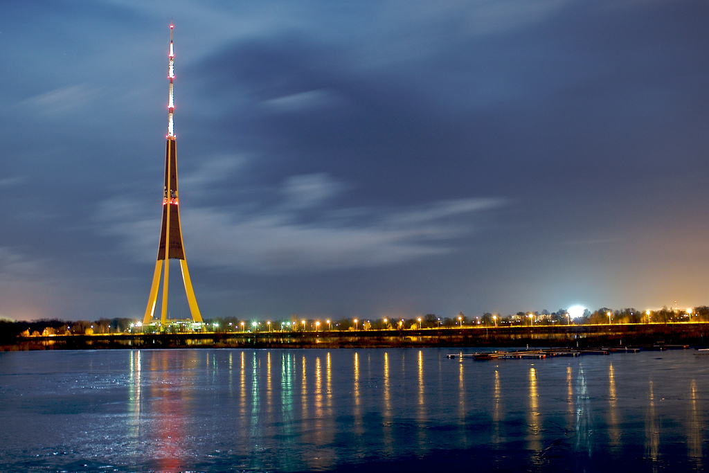 TV tower at night in Riga