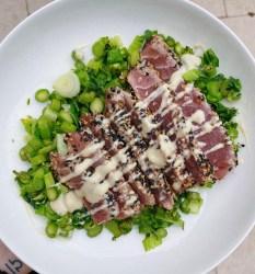 pepper crusted tuna with wasabi cashew cream sauce
