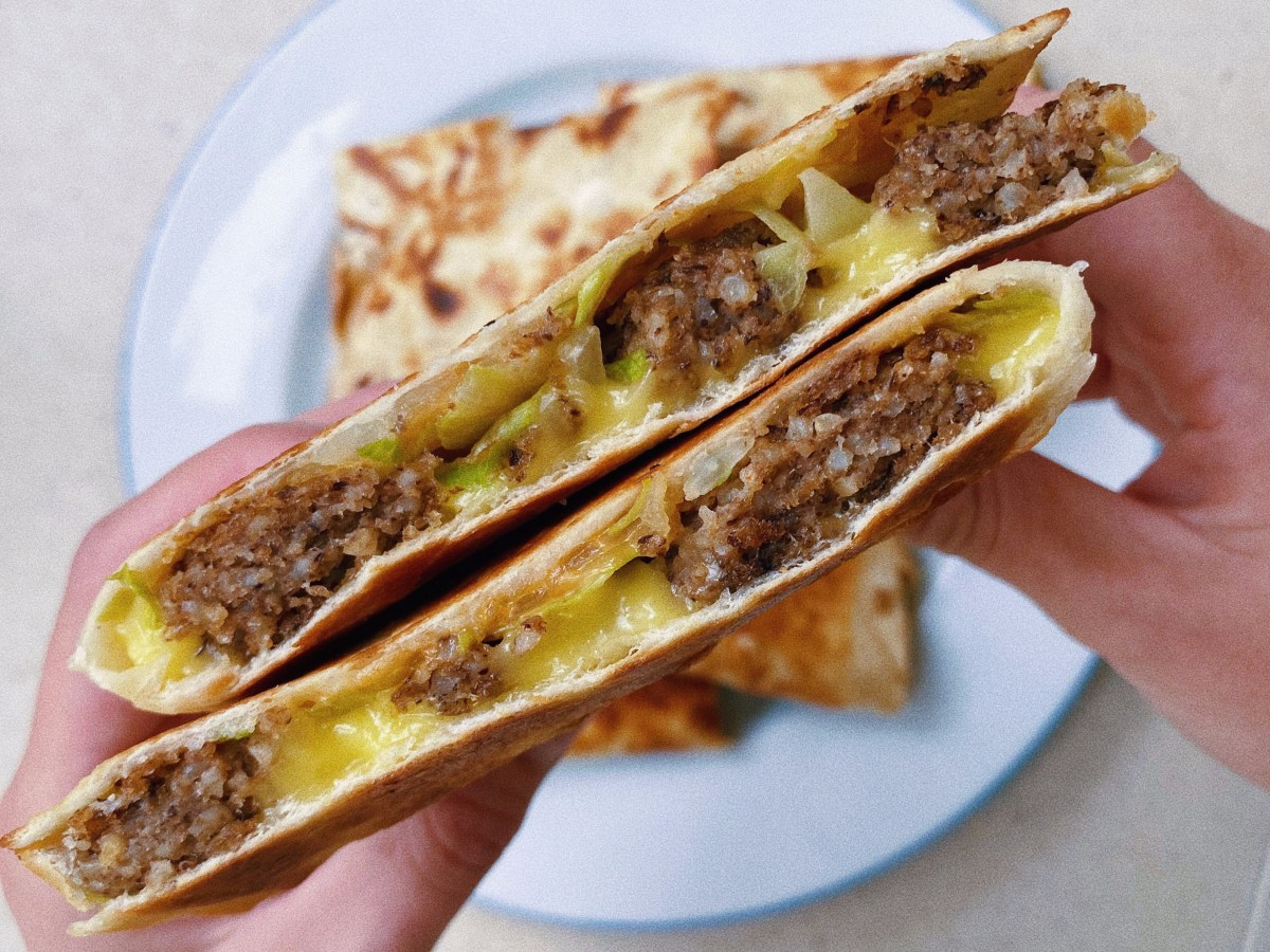vegan cheeseburger quesadilla featured