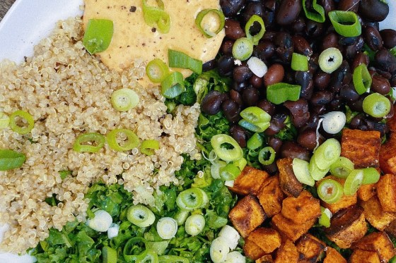 vegan protein bowl with spicy cashew dressing featured