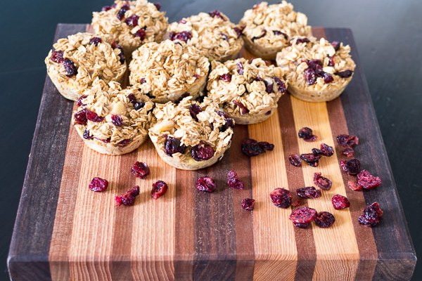 Oatmeal Banana Breakfast Muffins with Cranberries and Chocolate