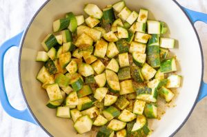 Zucchini in dutch oven with spices