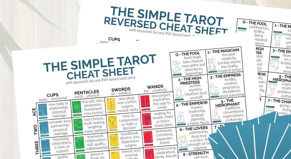graphic about Free Printable Tarot Cheat Sheet identify Tarot Card Meanings Reversed Pdf