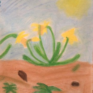I don't really have art for this post, so here's a picture Johanna made recently (oil pastels, I think) of some daffodils in our yard.