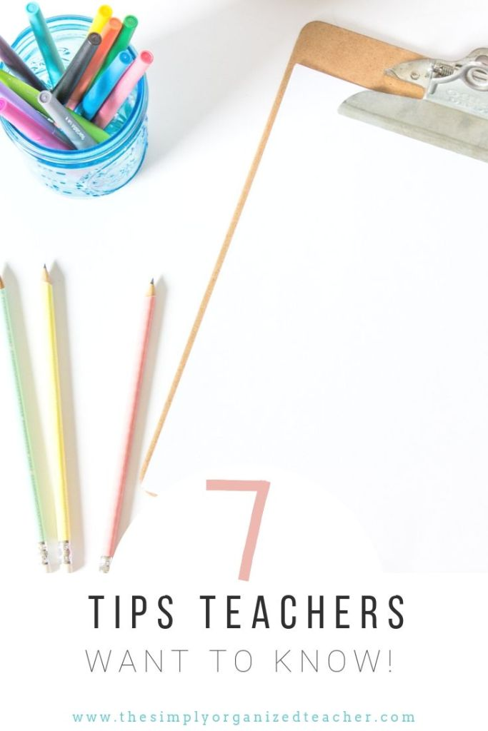 """Blank paper on a clipboard. Pens and pencils on the desk. Text overlay: 7 Tips for Teachers to Stay Sane in the Classoom\"""""""