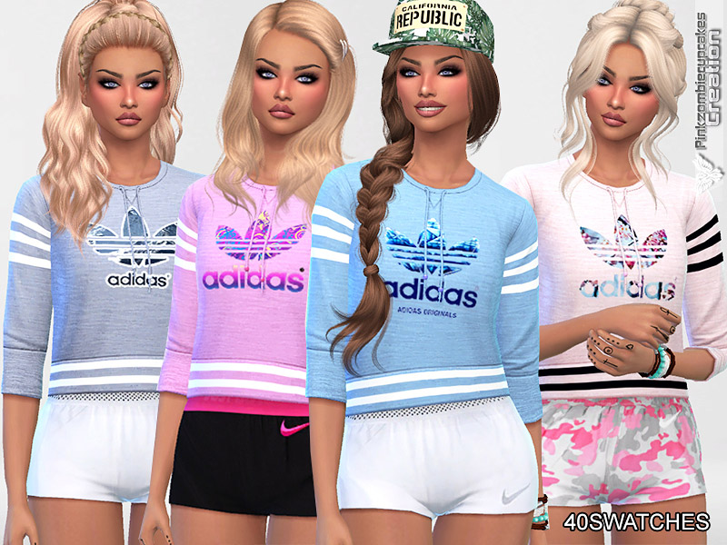 Industrial sin cable viva  Athletic Adidas Sweatshirts Collection - The Sims 4 Catalog