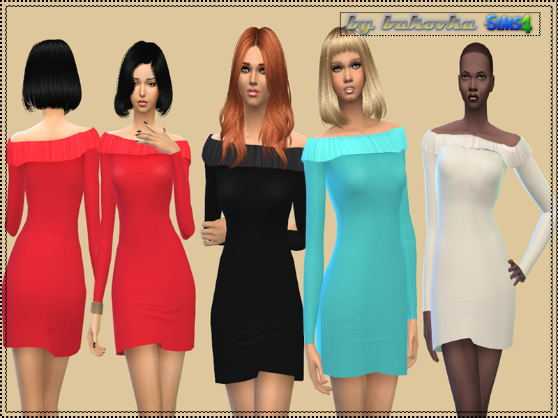 Dress with Flounce Collar - The Sims 4 Catalog