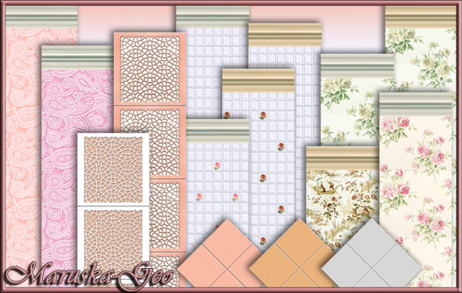 Wallpaper And Floor Tiles For Shabby Chic Kitchen