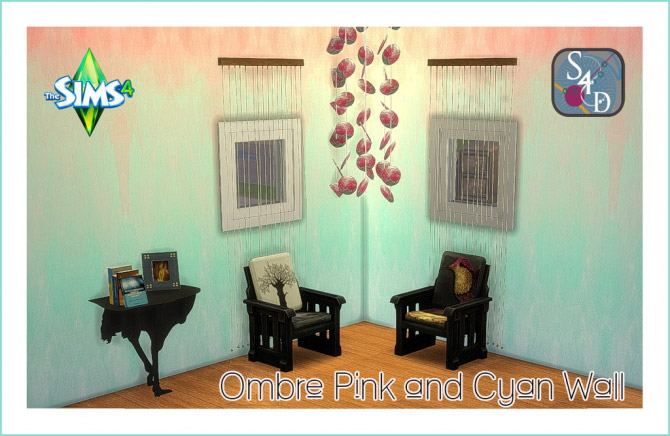Ombre Pink and Cyan Wall - The Sims 4 Catalog
