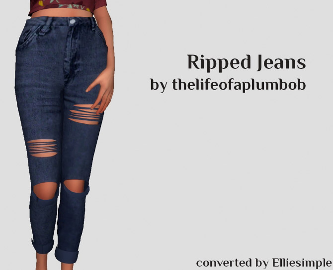 Thelifeofaplumbob's Ripped Jeans converted The Sims 4 Catalog