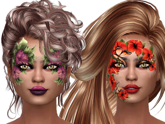 Flower face paint for lady's - The Sims 4 Catalog