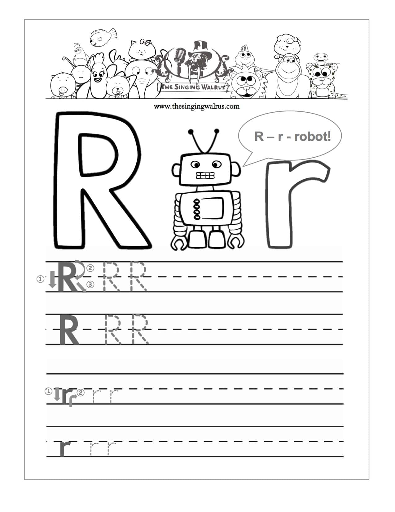 R Handwriting Worksheet