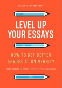 book cover of level up your essays: red back ground with blue pencils and text