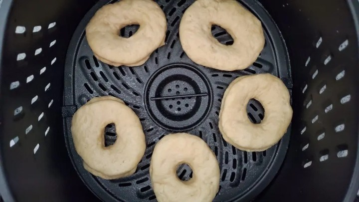 Preparing Easter Bunny Donuts to fry in the Air Fryer