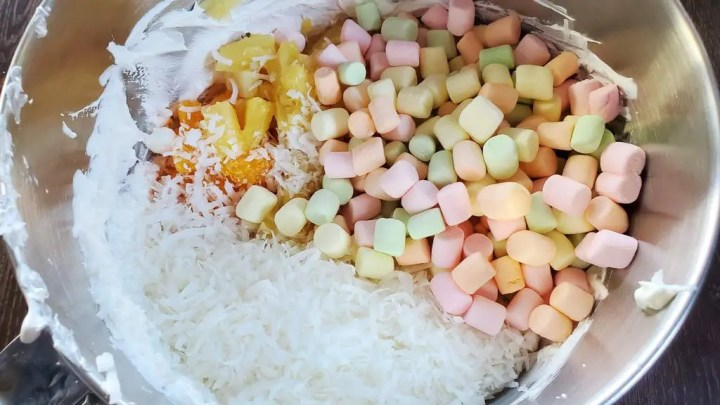 Mixing the Marshmallows, Cool Whip, Cream Cheese and Fruits