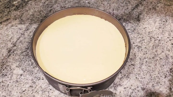Prepared Cheesecake Inside The Springform Pan
