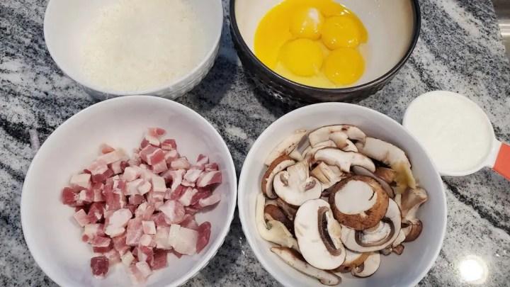Eggs, Parmesan, Heavy Cream, Mushrooms and Pancetta